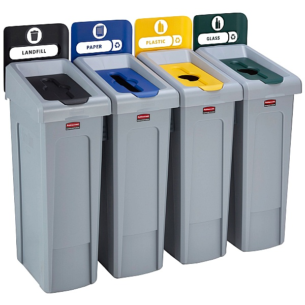 Slim Jim Recycling Station 4 Stream Bin Kit 2