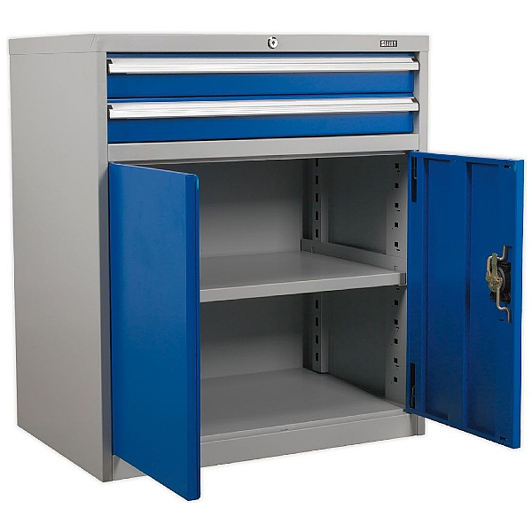 Sealey Industrial Cabinet 2 Drawer & 1 Shelf Double Locker -  880W x 580D x 1000H