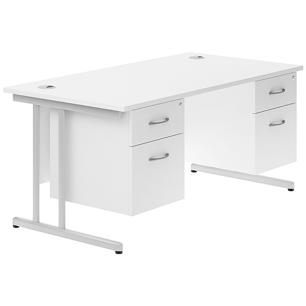 Next Day Polar Cantilever Double Fixed Pedestal Desks