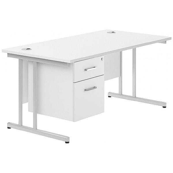 Next Day Polar Cantilever Single Fixed Pedestal Desks