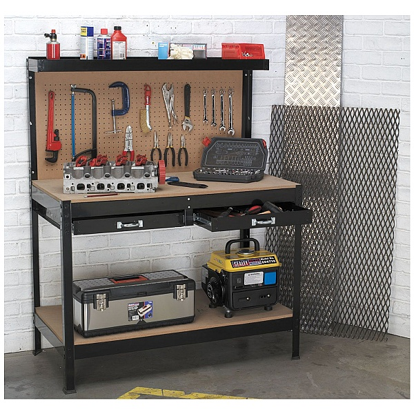 Sealey 1.2m Workbench with 2 Drawers and Pegboard