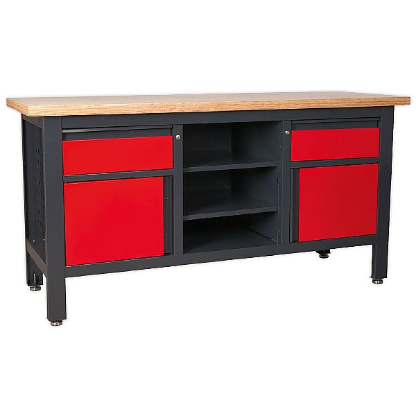 Sealey Workstation with 2 Drawers, 2 Cupboards & Open Storage