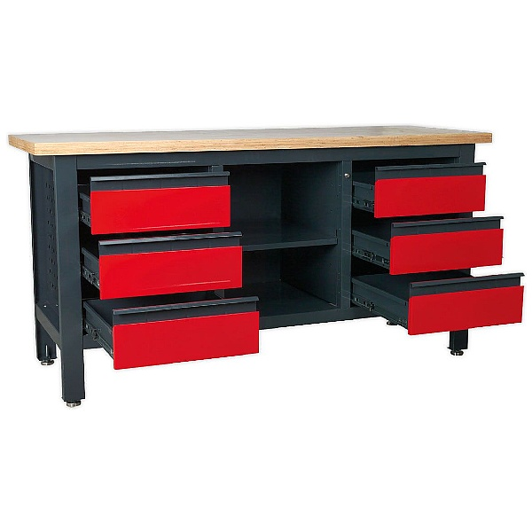 Sealey Workstation with 6 Drawers & Open Storage