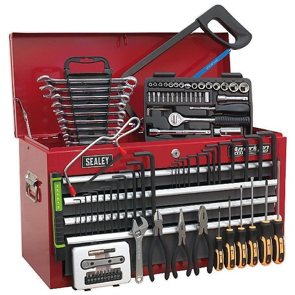 Sealey Red/Grey 6 Drawer Topchest With Ball Bearing Slides & 98pc Tool Kit