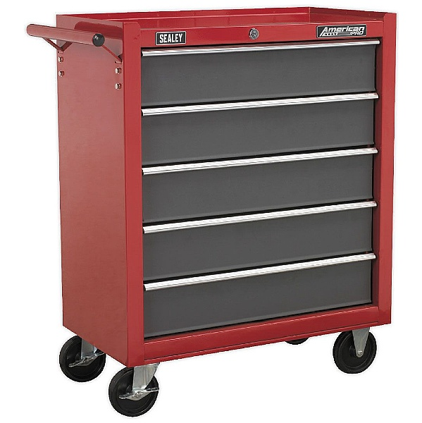 Sealey Red/Grey 5 Drawer Rollcab with Ball Bearing Slides