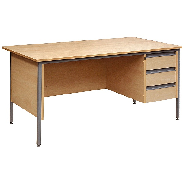 Nova Contract Rectangular H Leg Single Ped Desk