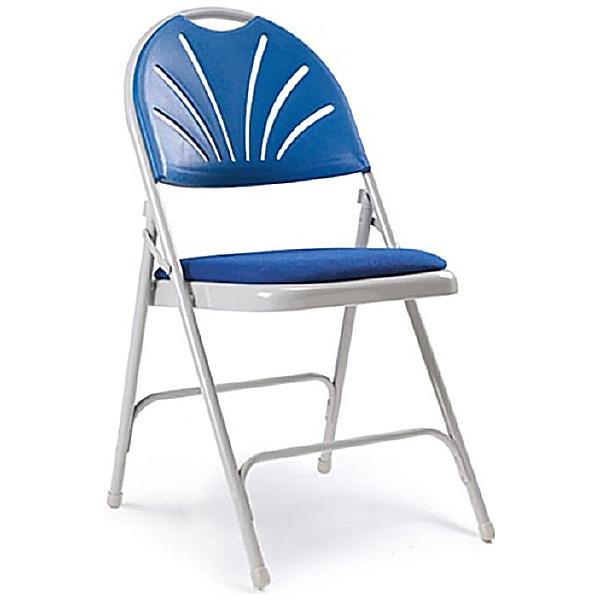Fan Back Upholstered Folding Chair (Pack of 4)