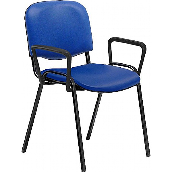 Swift Vinyl Conference Chair with Black Frame with Arms (Pack of 4 Chairs)