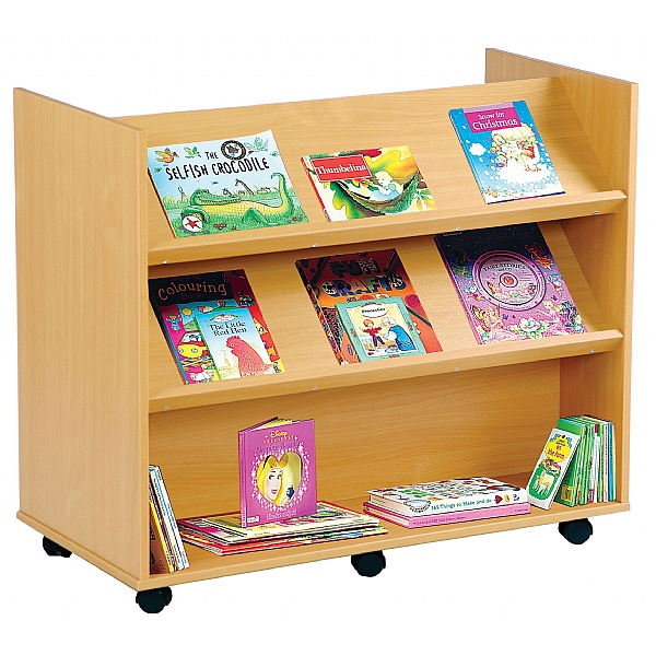 Double Sided Angled Library Bookcase