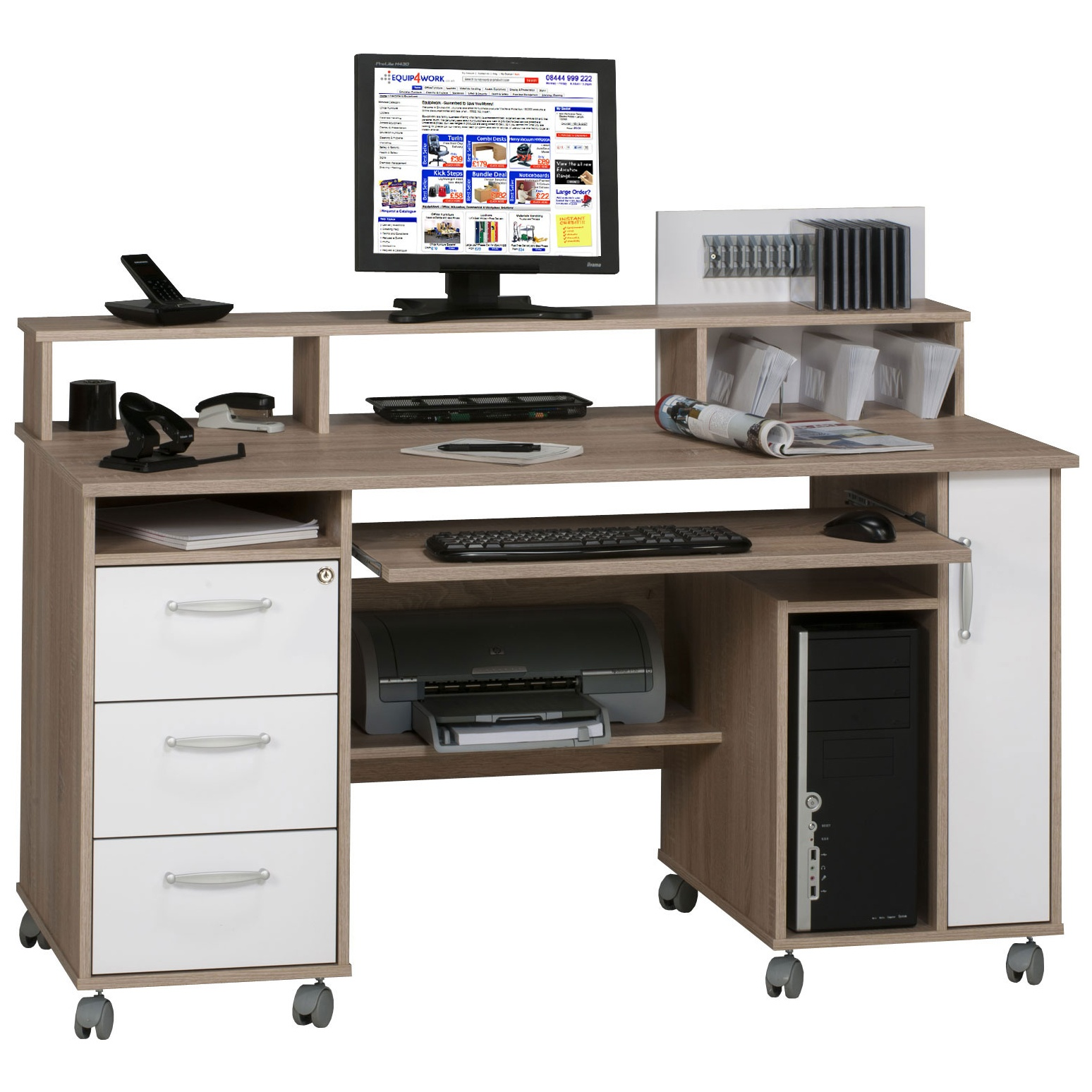 - Seaton Computer Desk Oak/White Home Computer Desks