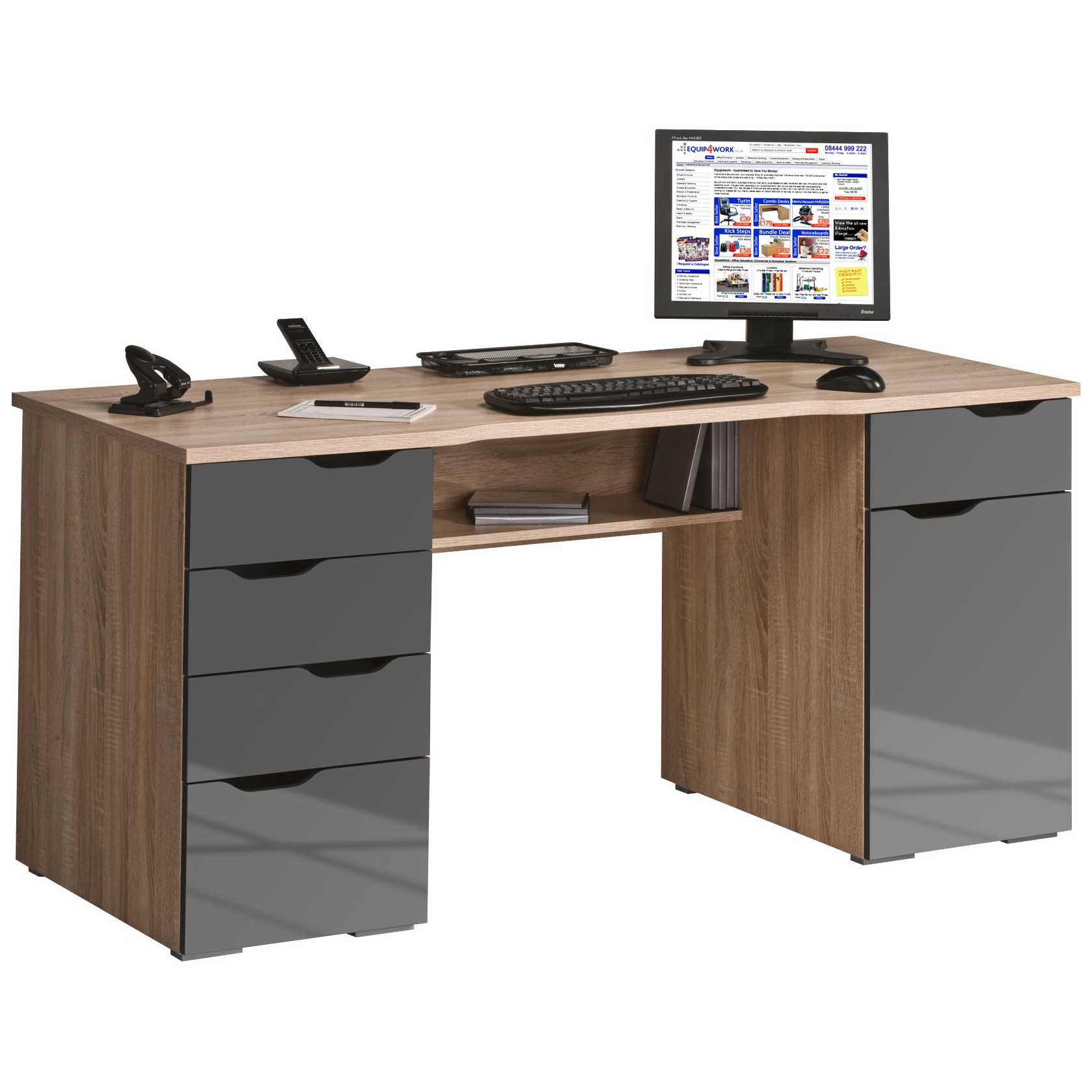 Calgary Computer Desk Oak Grey Home Computer Desks