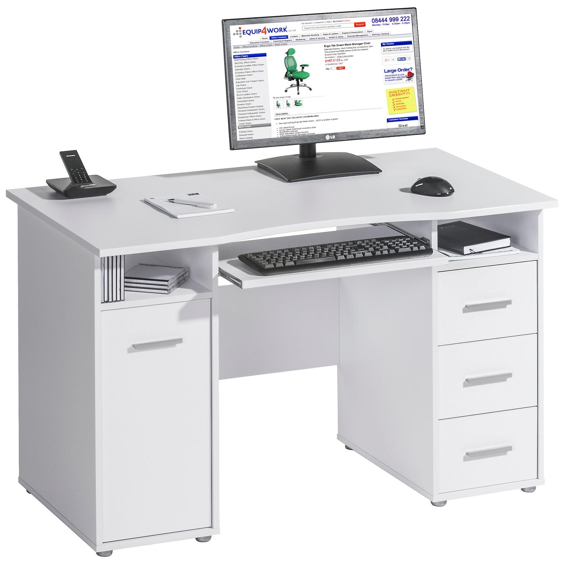 - Hampstead Computer Desk White Home Computer Desks